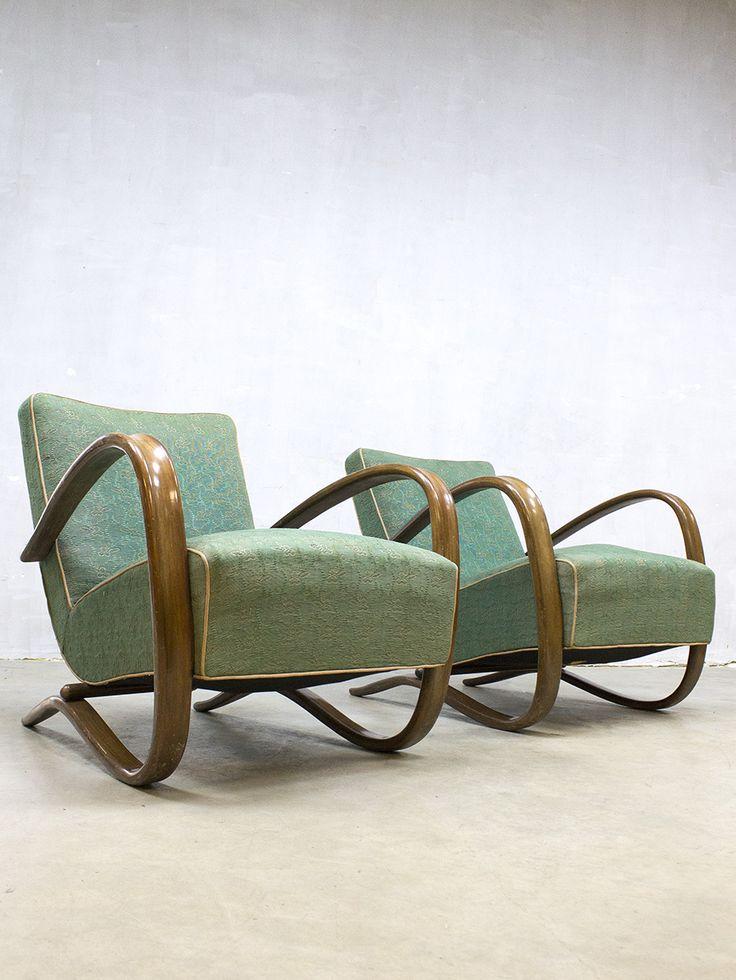 Fantastic pair Art deco Jindrich Halabala bentwood armchairs H-269 Thonet fauteuil vintage jaren 30 lounge chair arm chair loft