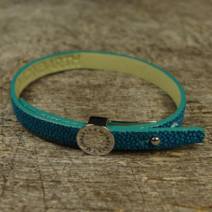 Bracelet Galuchat Turquoise Simple Tour MONBARTH