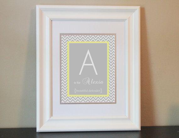 Chevron Baby Nursery Name Art Girl Gray & by BabyBunsDesigns, $14.00