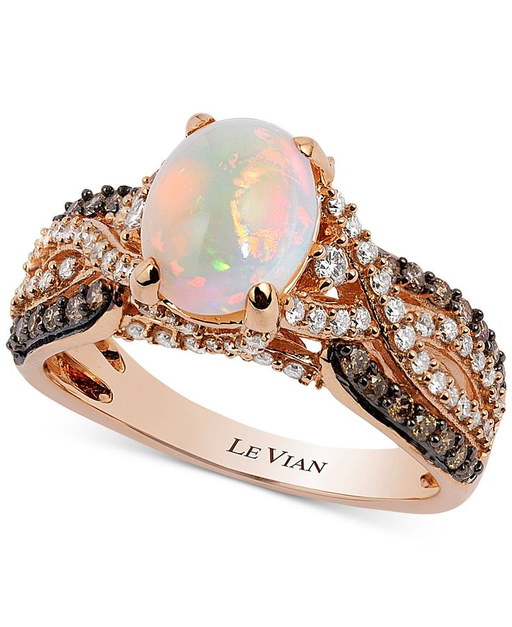 Le Vian LeVian Opal Ring 3/8 ct tw Diamonds 14K Strawberry Gold zlaPX6vBPD