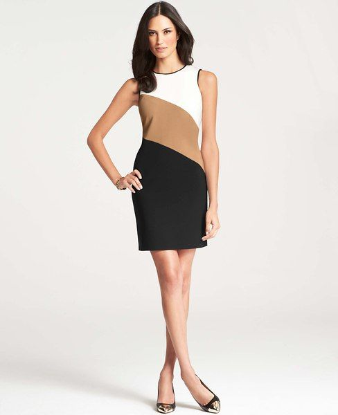 Colorblock Striped Sheath Dress.  Nice look, but with sleeves for me, and of course lengthen the skirt.  Probably narrow the middle color.