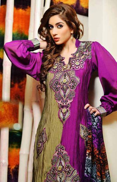 Latest Salam Textile's ColorFul Party Wear Dresses Collection 2014 For Girls