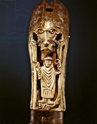 Clonmacnoise Crozier, County Offaly, Viking Age (wood wrapped in sheet bronze with inlaid silver) (detail of 228692)