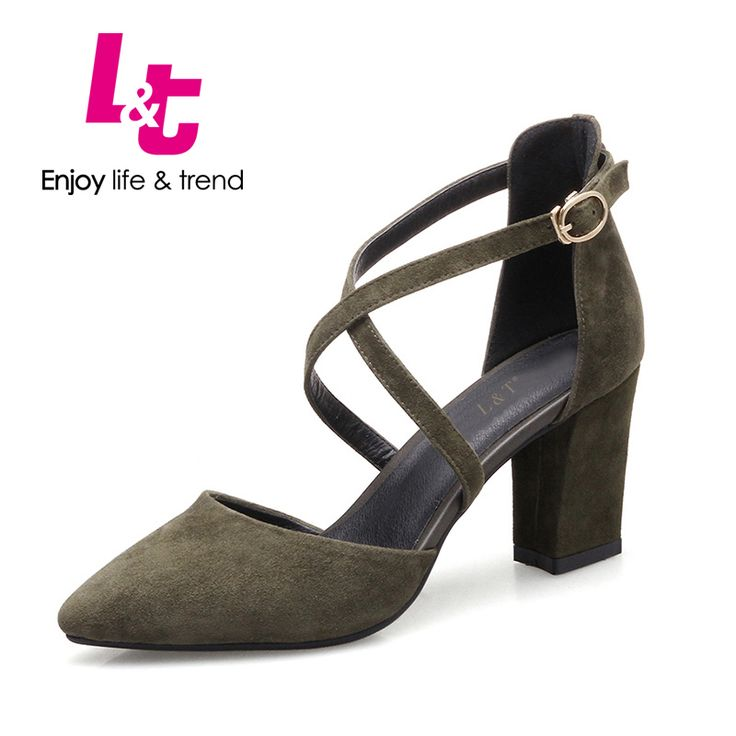 Cheap ladies shoes, Buy Quality high heels directly from China square high heel Suppliers: L&T women square high heels embossed genuine leather suede sapato feminin pumps classics pointed toe casual ladies shoes