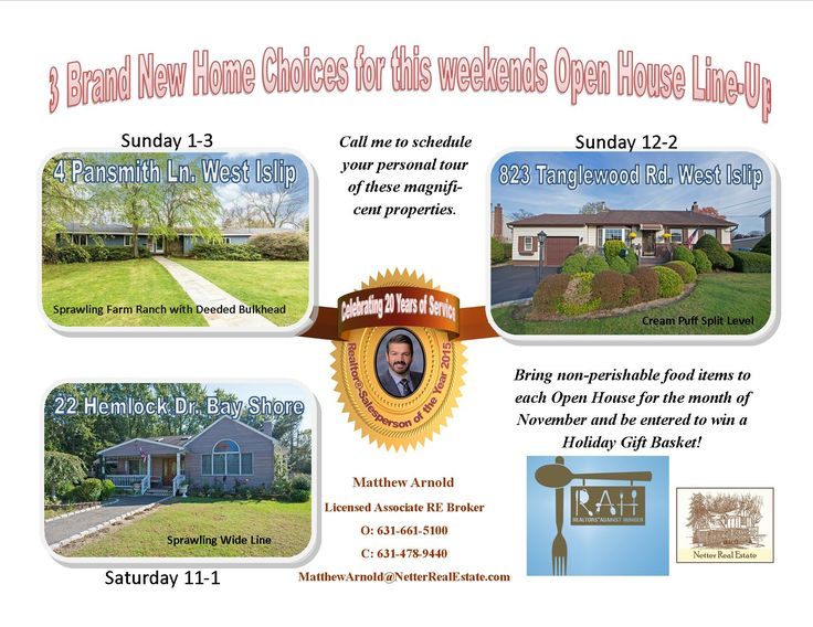 Wow, Three new houses to check out!  Don't forget to bring non-perishable  food items for the Food Drive and Holiday Raffle!