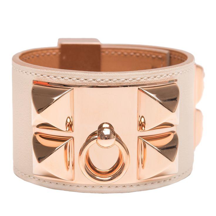 Hermes Craie Leather Collier De Chien (CDC) Bracelet Small