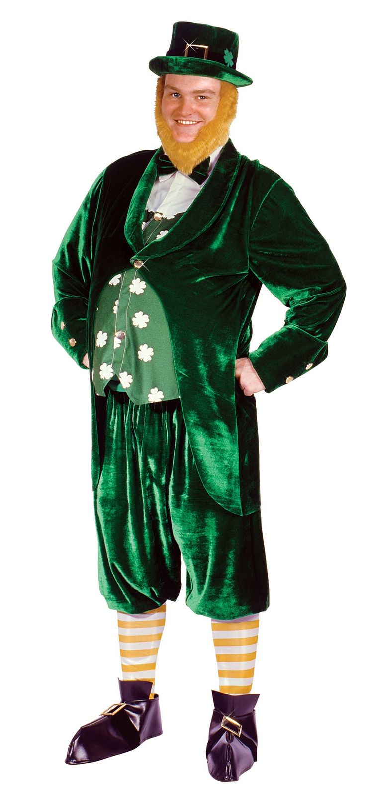 this jolly leprechaun includes a pair of emerald trousers a satin jacket with attached waistcoat and shirt and a top hat with black trim with metal buckle