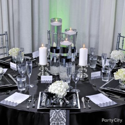 Elegant Black and White Damask Wedding Reception Table Ideas - Party City
