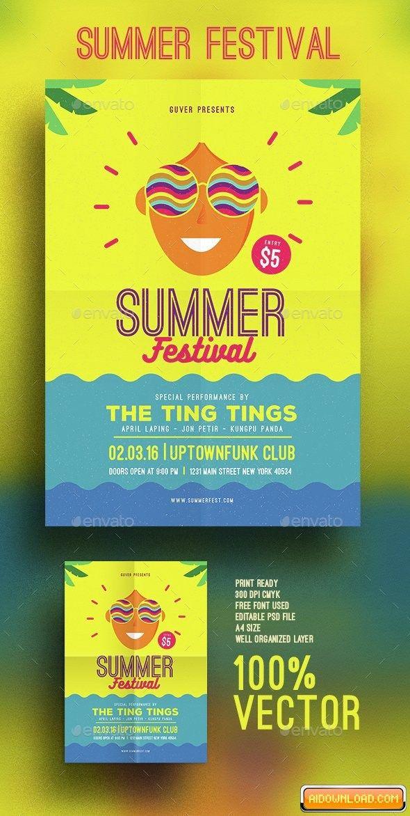 Summer festival flyer Free Download