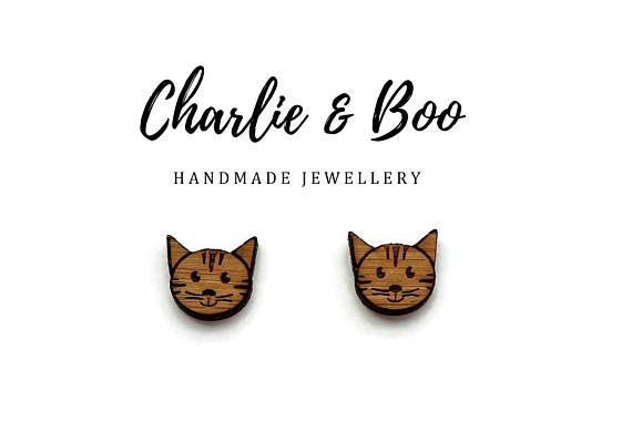 Cat Laser Cut Stud Earrings Raw Unfinished Bamboo