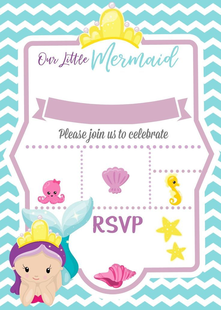 Mermaid Invitation Blank Check More At Www Lolsurprisedo Com Imagens Mermaid Invitation Festa Da Sereia Aniversario Da Sereia