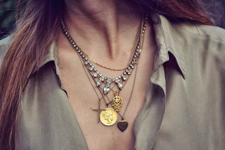 Mixed metal necklaces