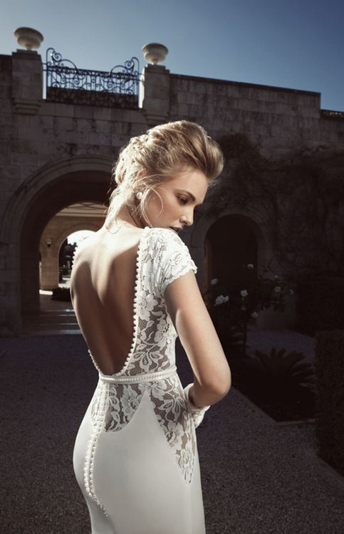 Backless open back fitted wedding dress with short lace for Lace sleeve backless wedding dress