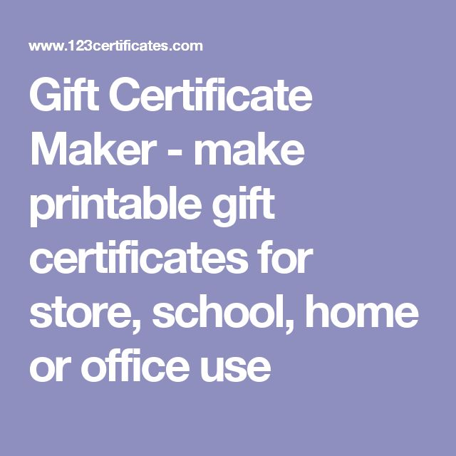 Gift Certificate Maker - make printable gift certificates for store, school, home or office use