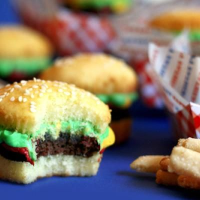 Have some fast food themed fun with these brownie cupcake burgers and cookie fries.  Created by: Bakerella