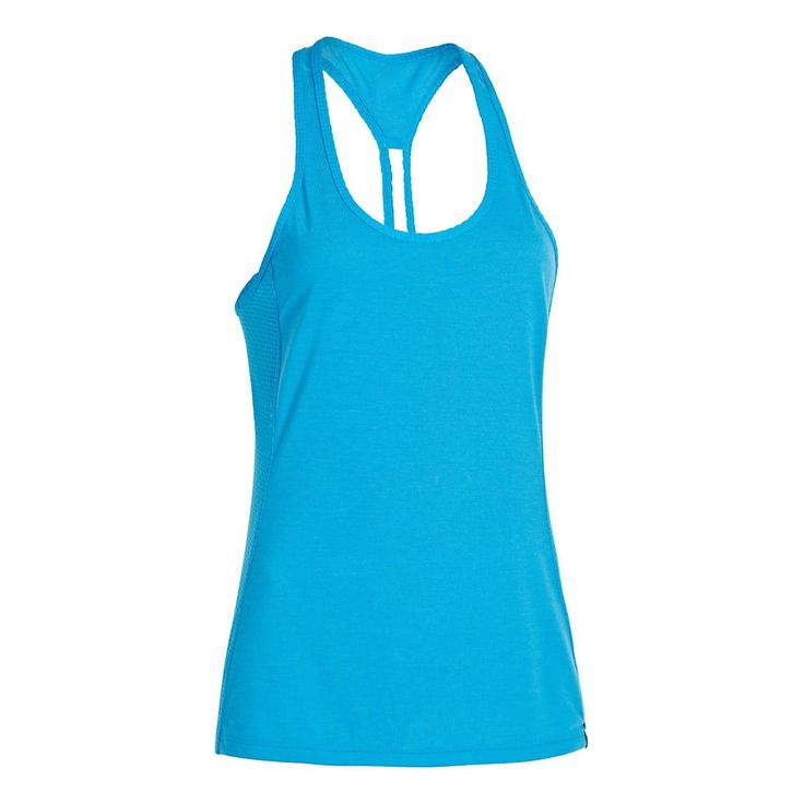 Move with the greatest of ease while catching eyes for your cute, feminine style when you run in the Womens Under Armour UA Fly-By Stretch Mesh Tank