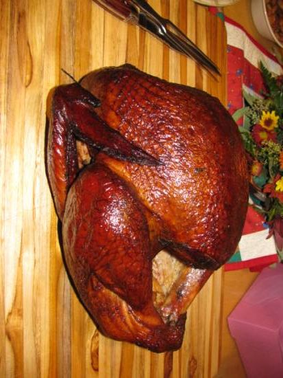 Smoked Turkey-Used the brine and basting sauce from this recipe for the best turkey Tony has ever smoked.