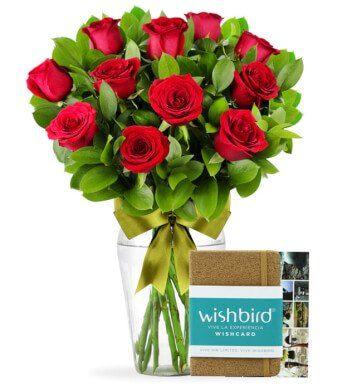 Regalo Experiencia Wishbird con 12 Rosas Rojas