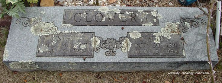 The grave headstone of Clifton Clowers, Woolverton Mountain Cemetery