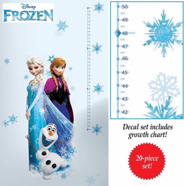 Disneys Frozen Characters Wall Decal Removable and Repositionable 16.5 x 38.5 in #WallDecal #Decal #Frozen #GrowthChart #Elsa #Anna #Olaf #Removable #Home #Kitchen #Bedroom #PlayRoom