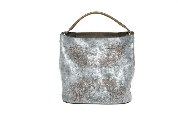 This smokey grey and taupe bag is enhanced with a flattering lion silhouette with a hint of sparkle. #handbags #fashion
