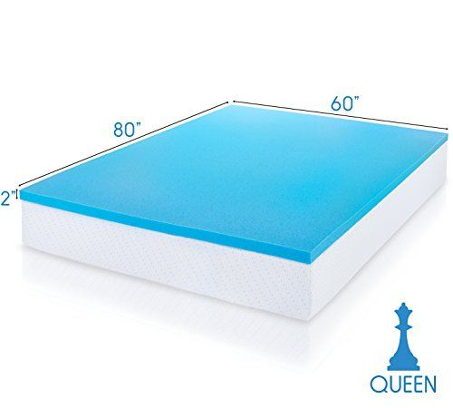 ViscoSoft Cooling Comfort Gel-Infused Memory Foam Mattress Topper – 2 Inches Thick, 3 Pound Density, Queen