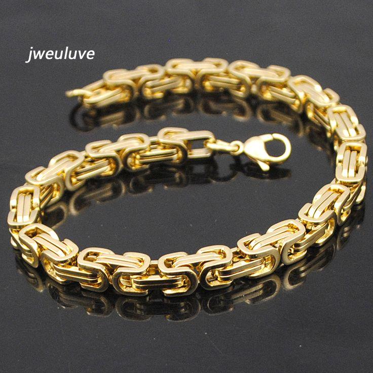 Jweuluve Promotion! Men's Bracelets Gold Chain Link Bracelet Stainless Steel 5.5mm Width Byzantine Wholesale High Quality KB105 [Affiliate]