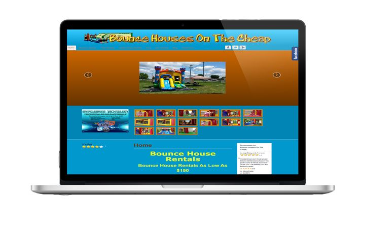 Websites designed by Empowering Technology Inc., for Bounce Houses On The Cheap LLC.