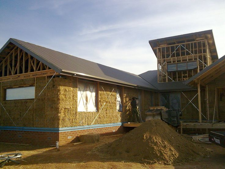Straw bale construction pre render