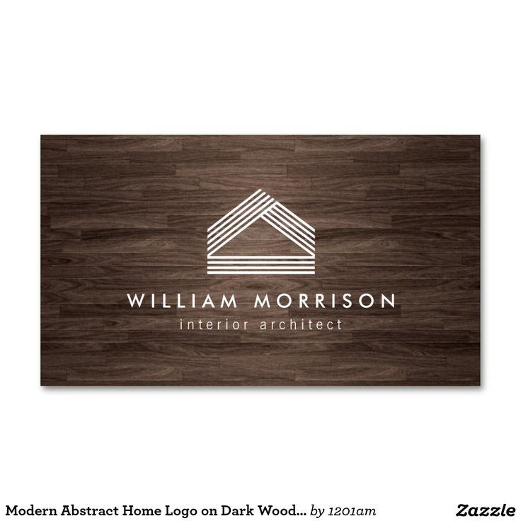 Modern Abstract Home Logo on Dark Woodgrain Business Cards for Architects, Interior Designers, Home Builders, Real Estate Agents and more. Ready to personalize.