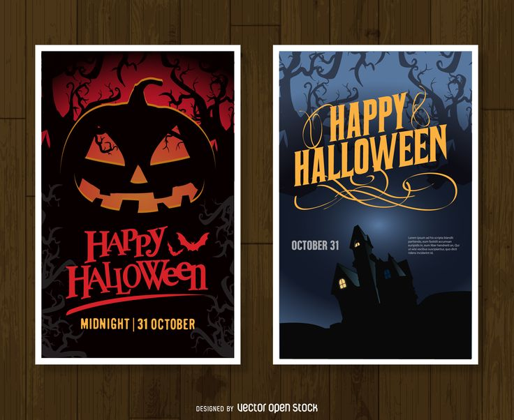 set of two posters or vertical banners celebrating halloween designs say happy - Pictures That Say Happy Halloween
