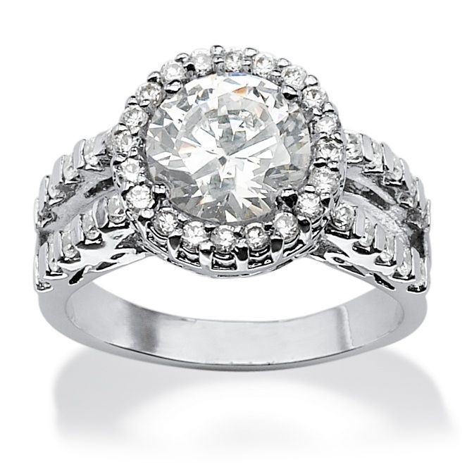 Palm Beach Jewelry PalmBeach 3.55 TCW Round Cubic Zirconia Platinum over Sterling Silver Halo Ring Glam CZ