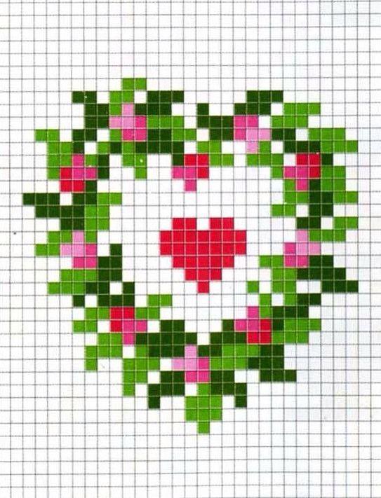 Christmas wreath cross stitch. Valentine cross stitch.