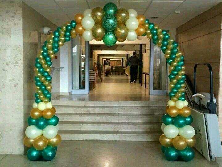 Arco verde dorado y blanco decoraci n con globo globos for Outlet de decoracion online