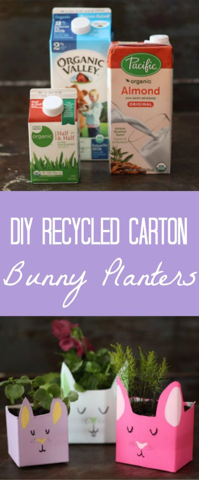 Make adorable little spring bunny planters from recycled milk cartons and tetra packs. #easter #craft #spring #planter #diy