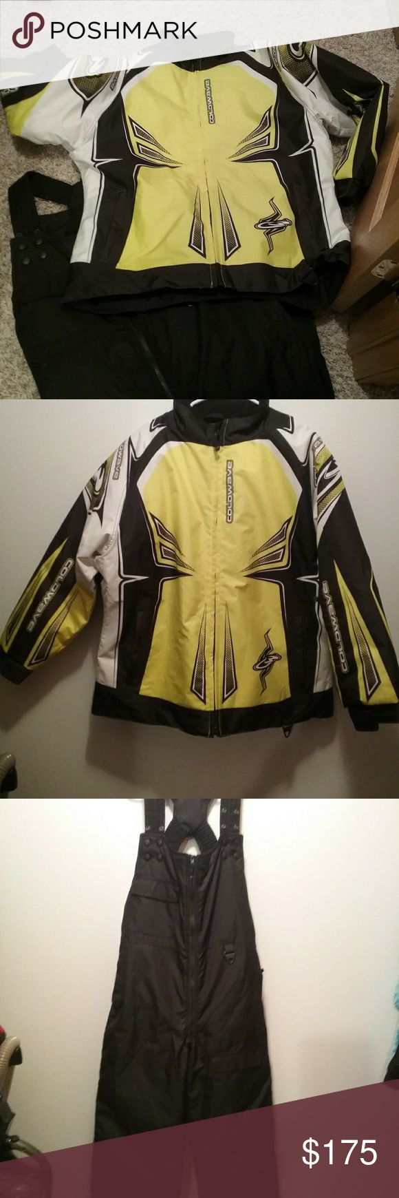 New snowmobile jacket/pants! Like new (only worn twice) ladies snowmobile suit in yellow/black/white colors.  Jacket is a Coldwave brand size 2XL.  Pants are also Coldwave brand in solid black with adjustable suspenders in size ladies short 2XL.  Would be willing to sell these 2 pieces separately, if wanted.  Super warm! Coldwave Other