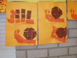 jufjanneke.nl - Herfst in de klas.. Slak maken van vierkantjes en driehoekjes