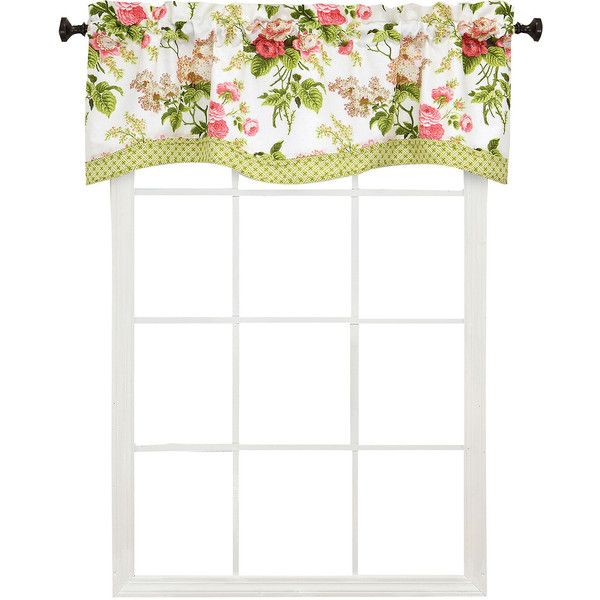 Waverly Emma's Garden Valance, Multicolor (One Size) - Valances +... ($40) ❤ liked on Polyvore featuring home, home decor, window treatments, curtains, rod pocket window panel, rod pocket valance, cotton curtains, rod pocket curtains and rod pocket curtain panels