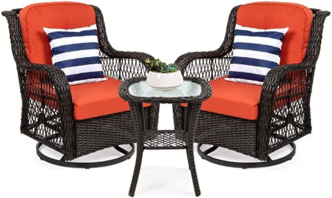 Amazon Com Best Choice Products 3 Piece Patio Wicker Bistro Furniture Set W 2 Cushioned Swivel Rocking C Swivel Rocking Chair Bistro Furniture Rocking Chair