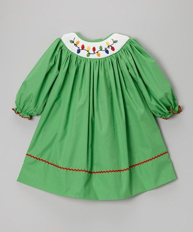 Take a look at this Green Christmas Lights Bishop Dress - Infant & Toddler by Smocked or Not on #zulily today!
