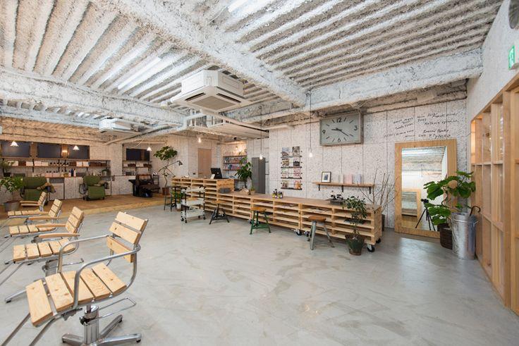 no.555 uses plywood fittings and movable furniture to renovate yokohama hair…