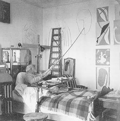 No excuses. Matisse still working despite being unable to stand at his easel after surgery.