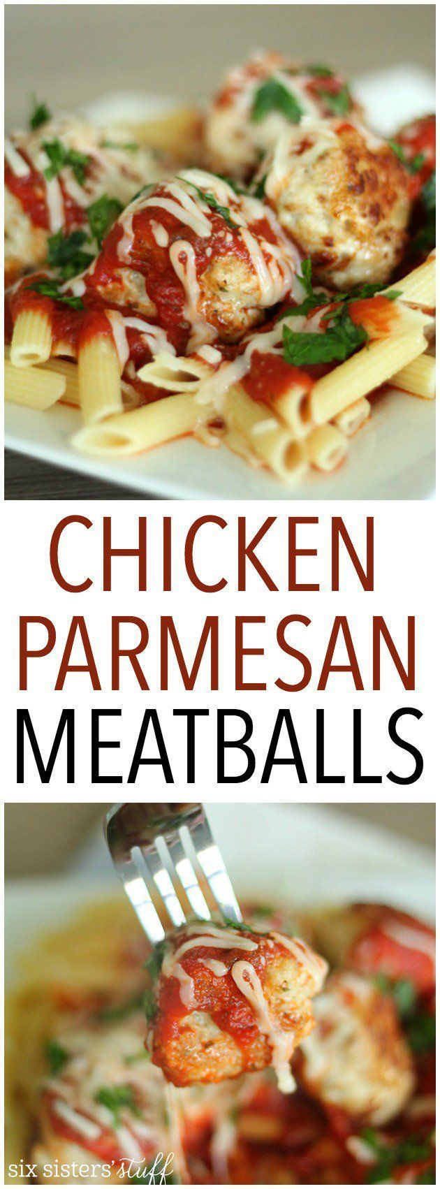 Chicken Parmesan Meatballs Recipe from SixSistersStuff.com | Chicken Meatball Recipe | Easy Dinner Ideas | Meals for Company