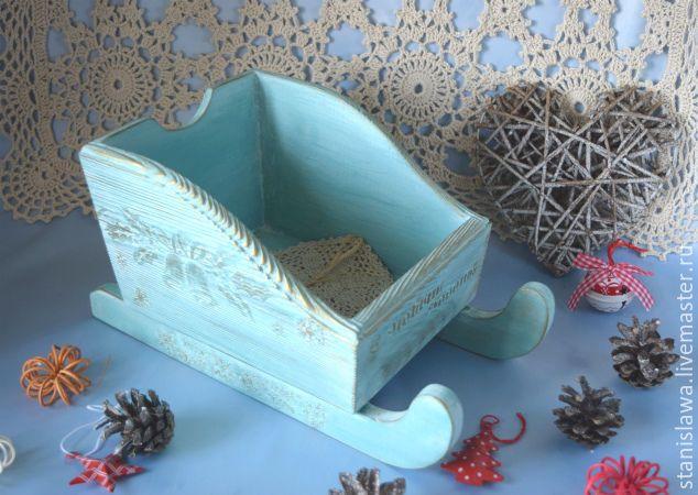 Купить Подставка -санки для шампанского, фруктов,подарков - голубой, подставка, подставка под шампанское, сани