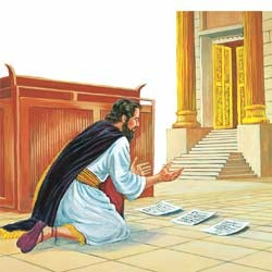 King Hezekiah praying to Jehovah for guidance and direction.