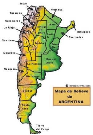 Mapa de Relieve de La Republica Argentina