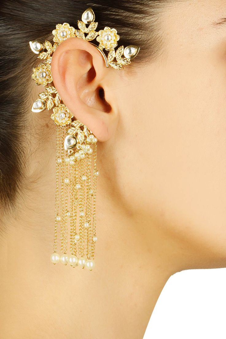 Gold finish kundan stone earcuff with chain danglers available only at Pernia's Pop Up Shop.