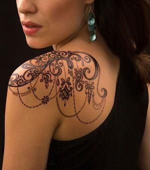 Beautiful Lace Tattoos On Shoulder For Women by DeeDeeBean