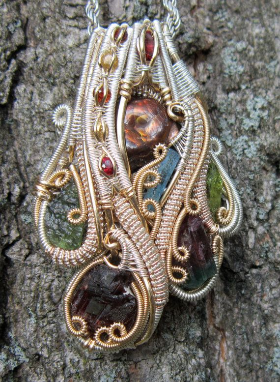 Fire Agate Grounding Wire Wrap Pendant by TendaiDesigns on Etsy, $850.00
