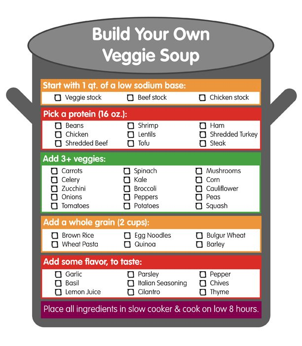 Build Your Own Veggie Soup | Produce For Kids - this would be good when I've got no clue what to make and lots of junk to pick out of the pantry.
